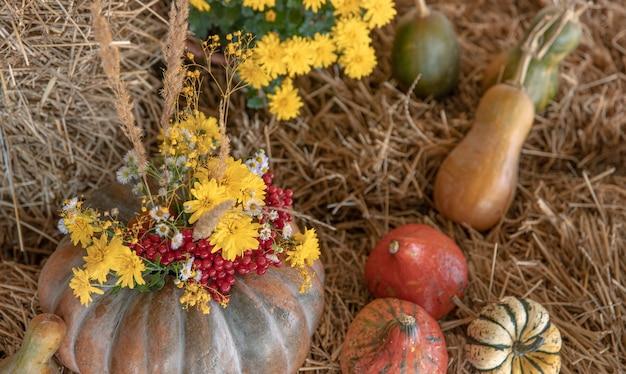 Herfstcompositie met pompoenen in rustieke stijl