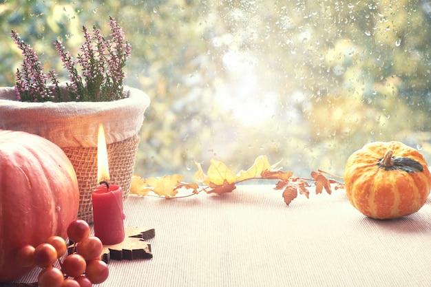 Herfstdecoraties op een vensterbord op een regenachtige dag, ruimte
