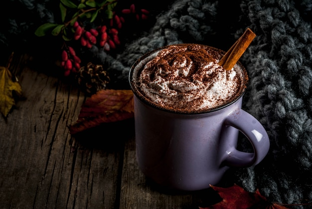 Herfstdranken, warme chocolademelk of cacao met slagroom en kruiden (kaneel, anijs), op de oude rustieke houten tafel, met een warme gezellige deken, hooibes en bladeren copyspace