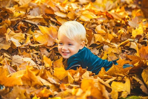 Herfstkind veel plezier en liggend op gevallen gouden bladeren bladval