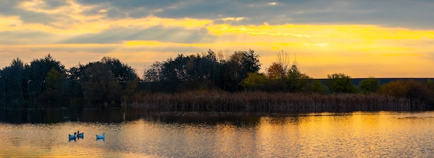 Herfstlandschap met een rivier bij zonsondergang en de weerspiegeling van bomen in het water