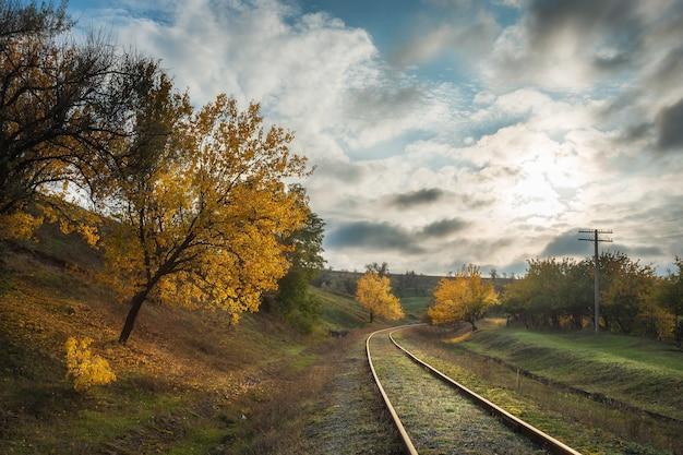 Herfstlandschap met spoorweg en heldere bomen