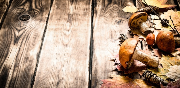 Herfstpaddestoelen met esdoornbladeren. op een houten tafel.