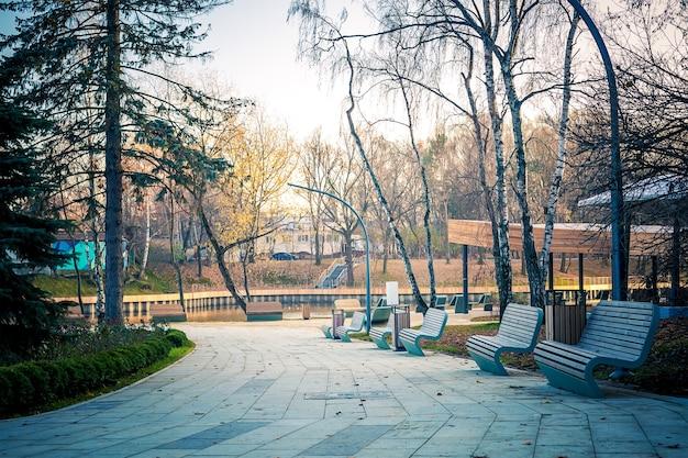 Herfstpark met berken- en dennenbomen pad langs lege stenen banken naar de vijver