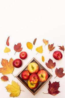 Herfstsamenstelling appels en gekleurde gevallen bladeren. oogst concept