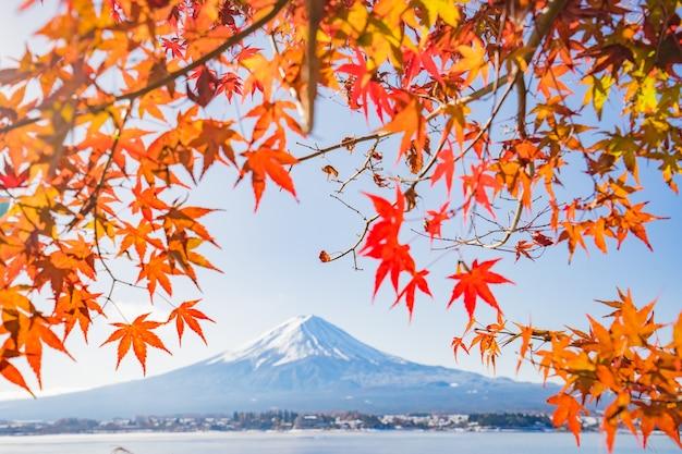 Herfstseizoen en berg fuji met avondlicht en rode bladeren bij het meer kawaguchiko, japan