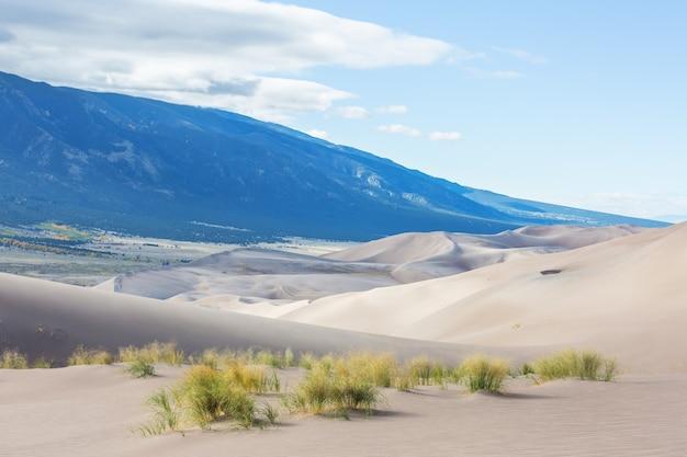 Herfstseizoen in great sand dunes national park, colorado, vs