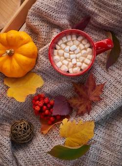 Herfststemming, opwarmend drankje. gezellige sfeer. rode kop cacao met marshmallow, decoratieve pompoen.