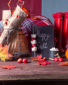 Herfststilleven met pompoenen en plaids