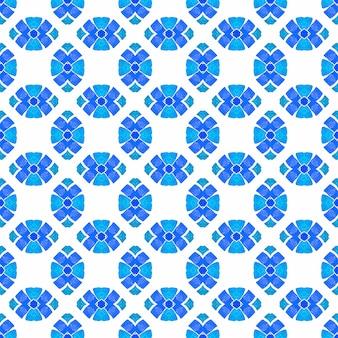 Herhalende gestreepte handgetekende rand. blauw pakkend boho chic zomers design. gestreept handgetekend ontwerp. textiel klaar fancy print, badmode stof, behang, inwikkeling.