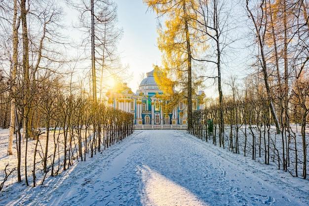 Hermitage pavilion in tsarskoye selo (poesjkin) voorstad van sint-petersburg. rusland.