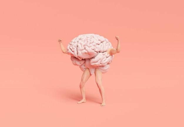 Hersenen met gespierde benen en armen