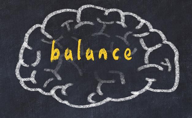 Hersenen met inscriptie evenwicht