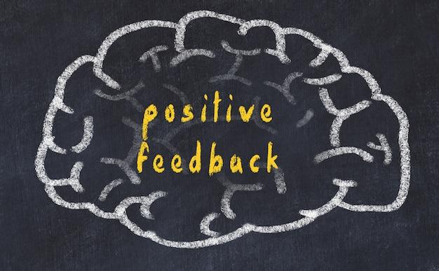 Hersenen met inscriptie positieve feedback