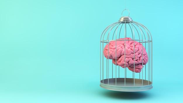 Hersenen op een kooi concept 3d-rendering