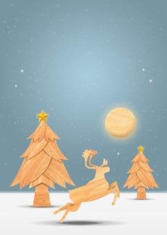 Herten in bos met kerstmisboom in de wintersneeuw. kerstvakantie en nieuw jaar