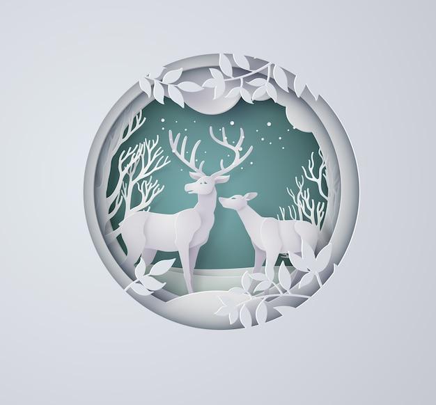 Herten in bos met sneeuw in de wintertijd en kerstmis. papier kunststijl.