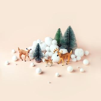 Herten in winter woud, kerst mockup