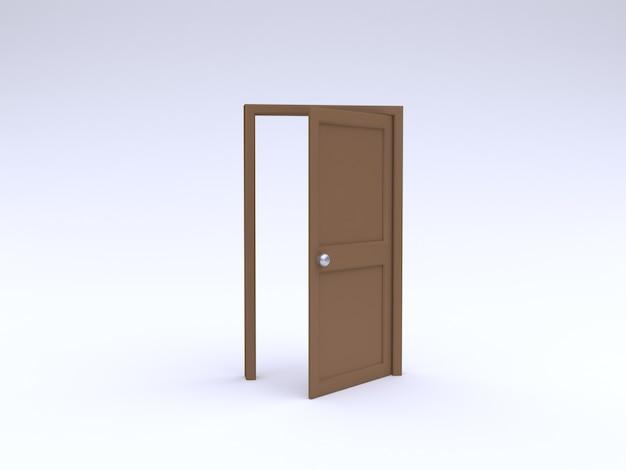 Het 3d abstracte houten deur open minimale witte 3d teruggeven als achtergrond