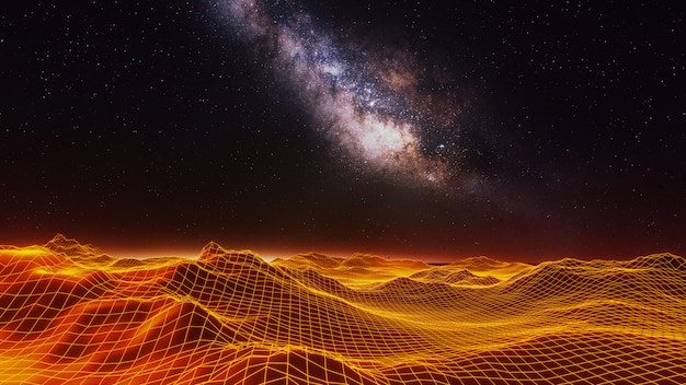 Het 3d fantasieheelal en de ruimteachtergrond, geven terug