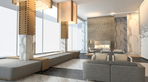 Het 3d het teruggeven mooie en luxehotel lobby met aardige muurtextuur
