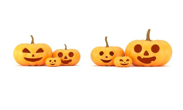 Het 3d teruggeven, groep pompoenhoofden met gelukkige emoties voor halloween-decoratie, pret en enge die pompoenen, op witte achtergrond, het knippen weg wordt geïsoleerd
