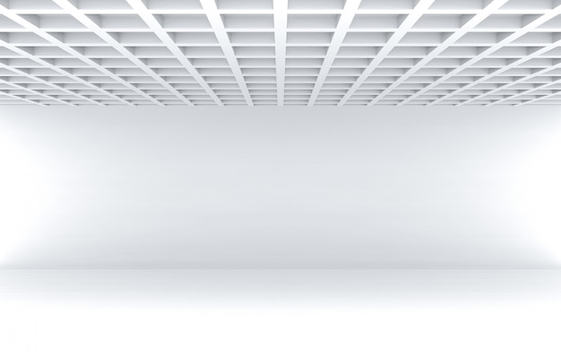 Het 3d teruggeven modern vierkant patroonplafond met lege witte het ontwerpachtergrond van de muurruimte.