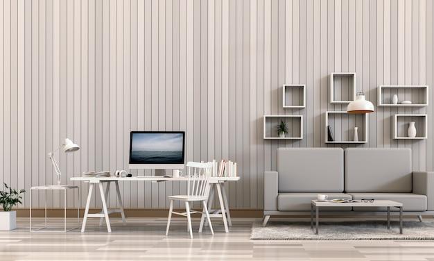 Het 3d teruggeven van binnenlandse ruimte met bureaucomputer