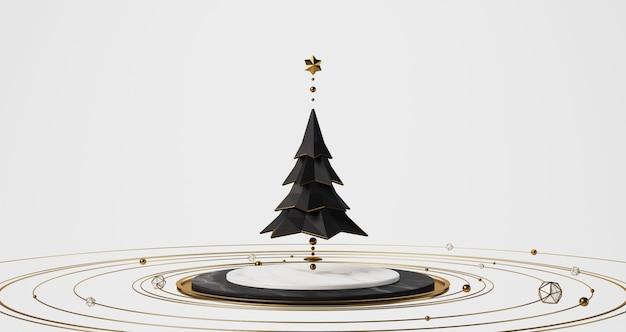 Het 3d teruggeven van een zwarte kerstboom die boven het witte marmeren stadium met gouden gouden ballen, sterren en ringen die rond drijven drijven, vat minimaal concept samen.