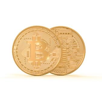 Het 3d teruggeven van gouden bitcoinmuntstuk op wit