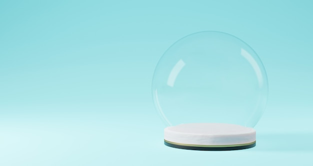 Het 3d teruggeven van kerstmis, glasbal op wit voetstuk op blauwe achtergrond abstract minimaal concept, minimalistische luxe