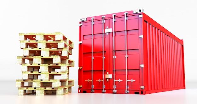 Het 3d teruggeven van ladingscontainer die op witte achtergrond wordt geïsoleerd. containerdoos van vrachtvrachtschip voor import en export, palletverzending