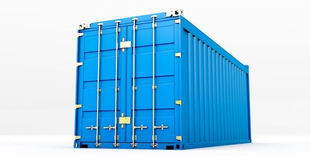 Het 3d teruggeven van ladingscontainer die op witte achtergrond wordt geïsoleerd. containers doos van vrachtvrachtschip voor import en export,