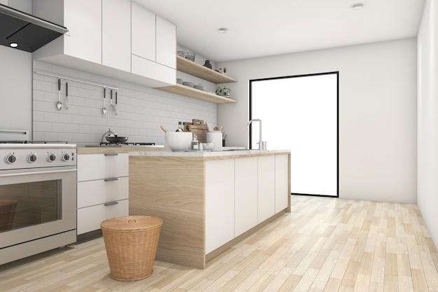 Het 3d teruggeven van luxe moderne keuken