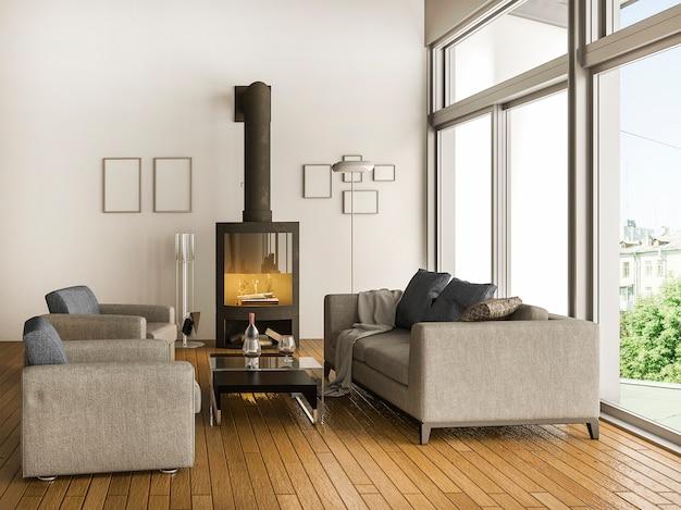 Het 3d teruggeven van luxe moderne woonkamer