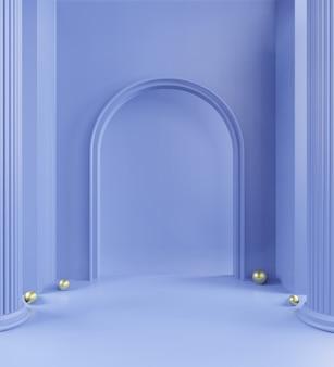 Het 3d teruggeven van pastelkleurgang, blauwe kleurenachtergrond, pastelkleur blauwe zwart-wit minima, niemand, exemplaarruimte
