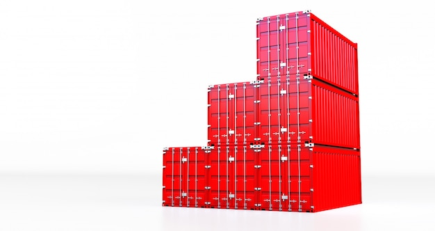 Het 3d teruggeven van rode ladingscontainer die op witte achtergrond wordt geïsoleerd. containers doos van vrachtvrachtschip voor import en export,