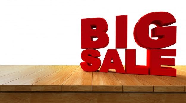 Het 3d teruggeven van tekst grote verkoop op een perspectief houten die raad op witte achtergrond wordt geïsoleerd.