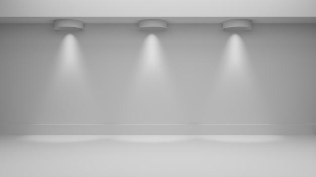 Het 3d teruggeven van witte ruimte met verlichting