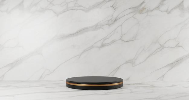 Het 3d teruggeven van zwart marmeren voetstuk dat op witte marmeren achtergrond, gouden ring, abstract minimaal concept, lege ruimte, minimalistische luxe wordt geïsoleerd