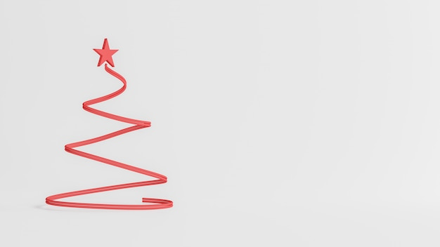 Het 3d teruggeven, vrolijke kerstmis en gelukkig nieuw jaarconcept, lage polypijnboom met het ontwerp van de sneeuwscène, 3d illustratie