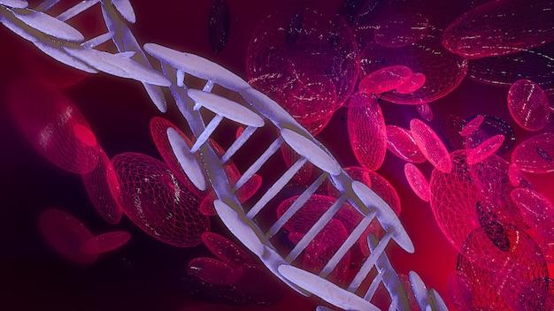 Het abstracte 3d teruggeven van dna-bloedcel op wetenschappelijke achtergrond