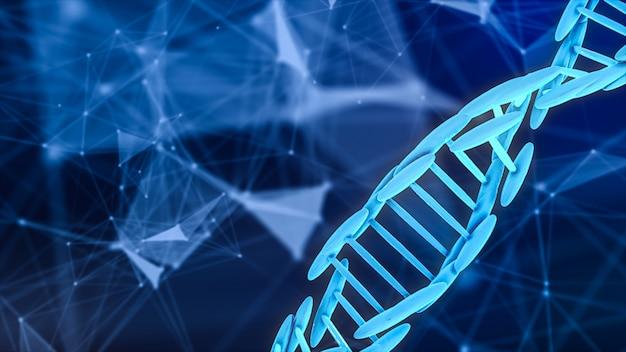 Het abstracte 3d teruggeven van dna-bloedcel op wetenschappelijke achtergrond.