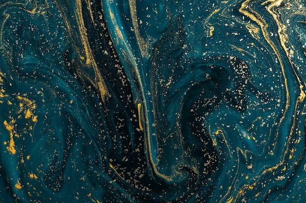 Het abstracte art. van de verftextuur. natuurlijke luxe. blauwe verf met goud glitterpoeder. marmeren.