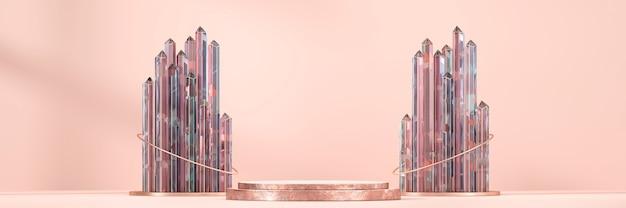 Het abstracte gouden podium van de productvertoning met 3d kristalgroep geeft terug