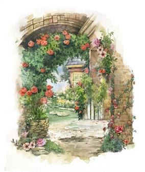 Het abstracte kleurrijke bloemenwaterverf schilderen. lente met gebouwen en muren