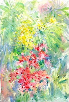Het abstracte kleurrijke bloemenwaterverf schilderen. lente veelkleurig