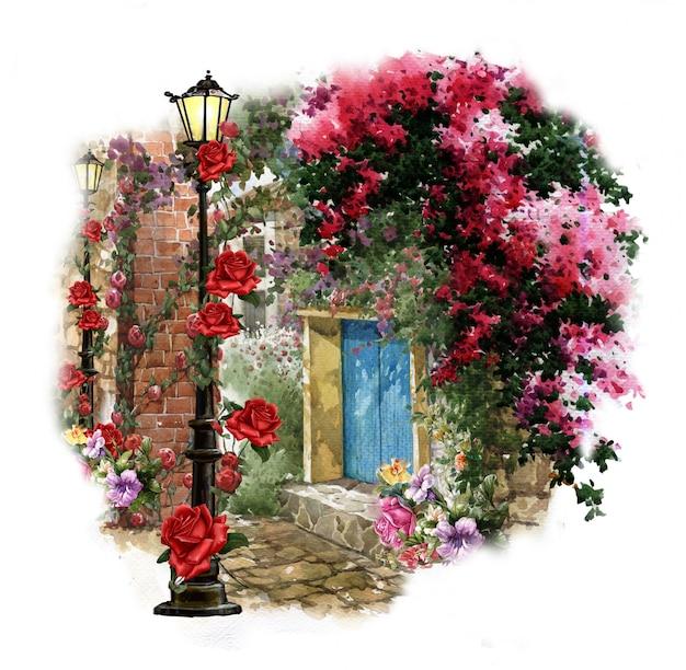 Het abstracte kunst kleurrijke bloemen schilderen. lente veelkleurige illustratie