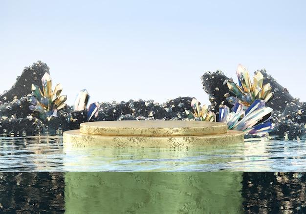 Het abstracte platform van het luxe gouden stadium met bijtend aardkristal in water, malplaatje voor reclameproduct, het 3d teruggeven.