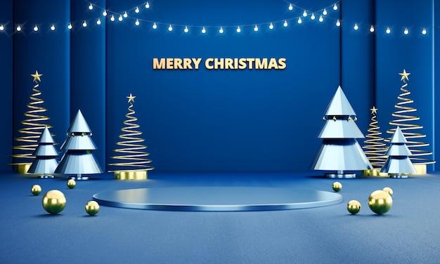 Het abstracte stadium van luxe blauwe vrolijke kerstmis met decoratie